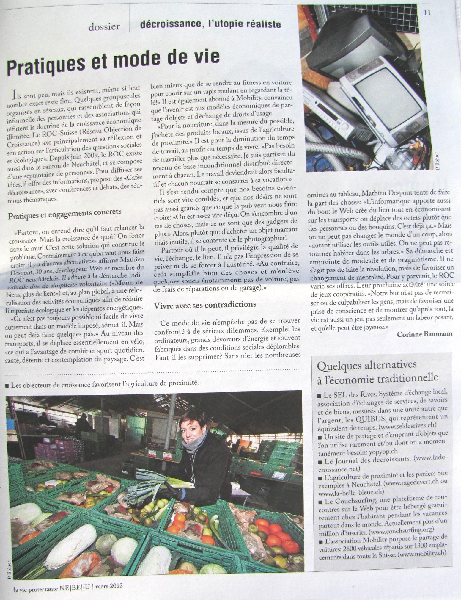 Mathieu Despont décroissance vie protestante mars 2012