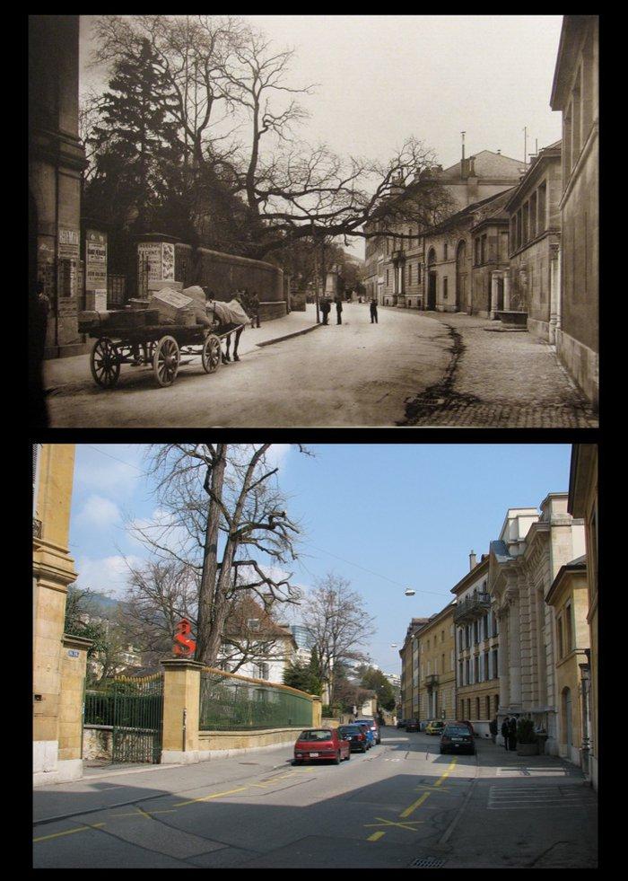 faubourg de l hopital neuchâtel en 1900 et en 2009.jpg