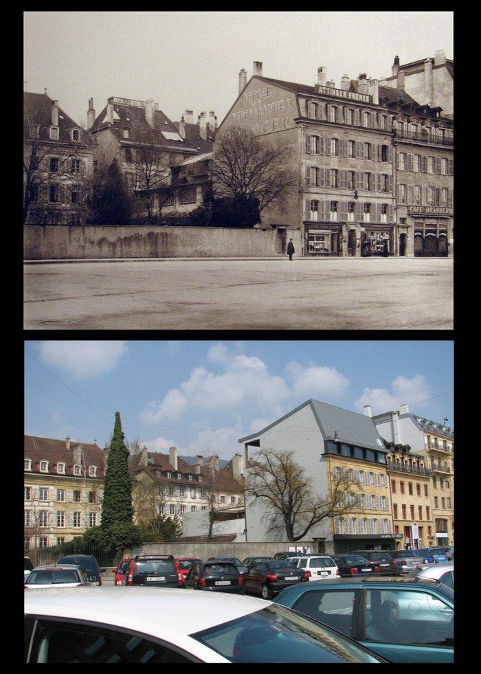 Place Alexis-Marie Piaget à Neuchâtel vers 1900 et en 2009.jpg