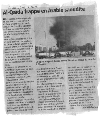 le nouvelliste 7 décembre 2004 attentat consulat USA Djedda.jpg