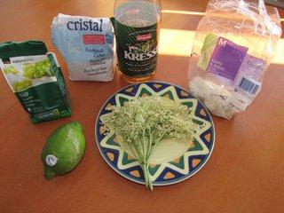 ingrédients pour fabriquer la limonade de sureau.JPG