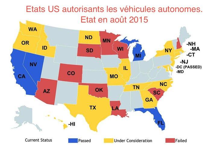 carte des Etats des USA qui autorisent les google cars et les véhicules autonome sans chauffeur.jpg