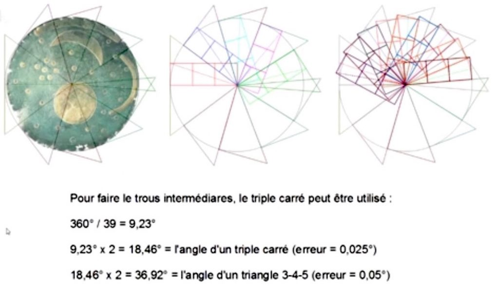 21-disque de Nebra NureaTV Howard Crowhurst39 trous triangle 3-4-5 triple carre