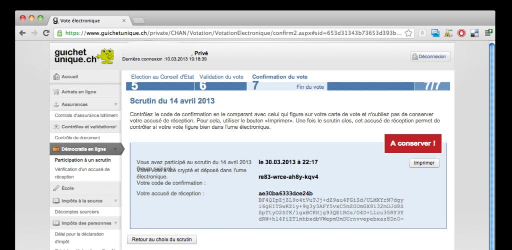 accuse de réception vote électronique suisse scytl