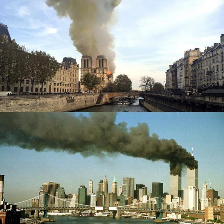 les deux tours WTC cathédrale Notre Dame de Paris en flamme.. incendie H