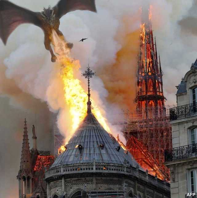 notre dame de paris incendie cathedrale dragon game of throne