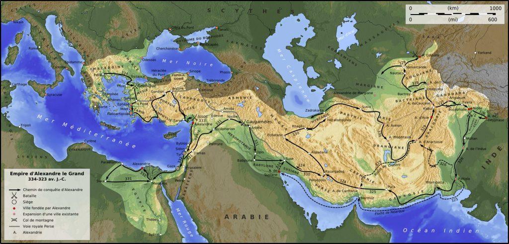 Empire d'Alexandre de le Grand, avec le tracé de son parcours de conquête