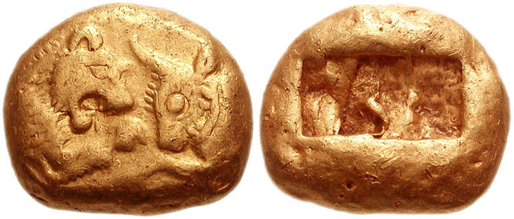 piece-de-monnaie-de-cresus-KINGS_of_LYDIA._Kroisos._Circa_561-546_BC._AV_Stater_16mm_10.73_g._Heavy_series._Sardes_mint