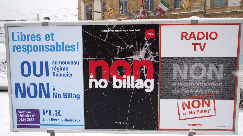 PLR est pour les impôts. regime financier et no billag votation suisse mars 2018