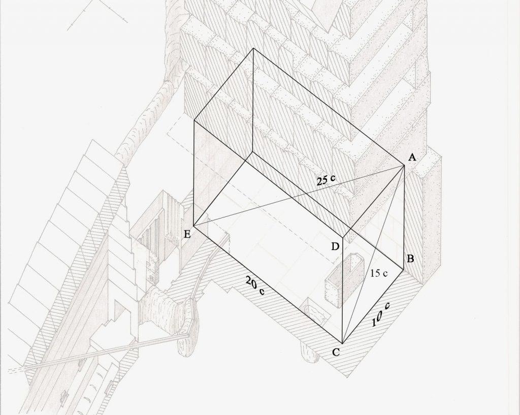 schéma de la chambre haute de la grande pyramide de gizeh. Dite chambre du roi.