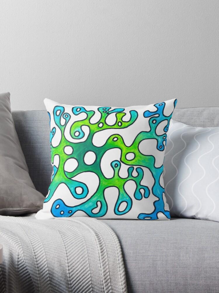 coussin dessin artbrut martouf algue