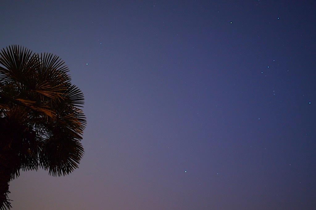 Orion en Haut à droite et Sirius au milieu en bas.