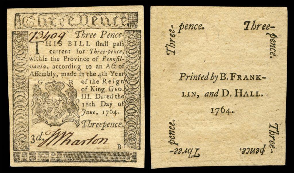 colonial scrips benjamin franklin US-Colonial_(PA-115)-Pennsylvania-18_Jun_1764