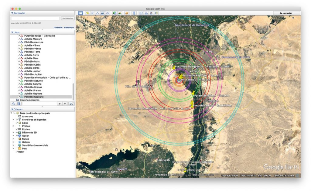 planétarium de gizeh pyramide google earth