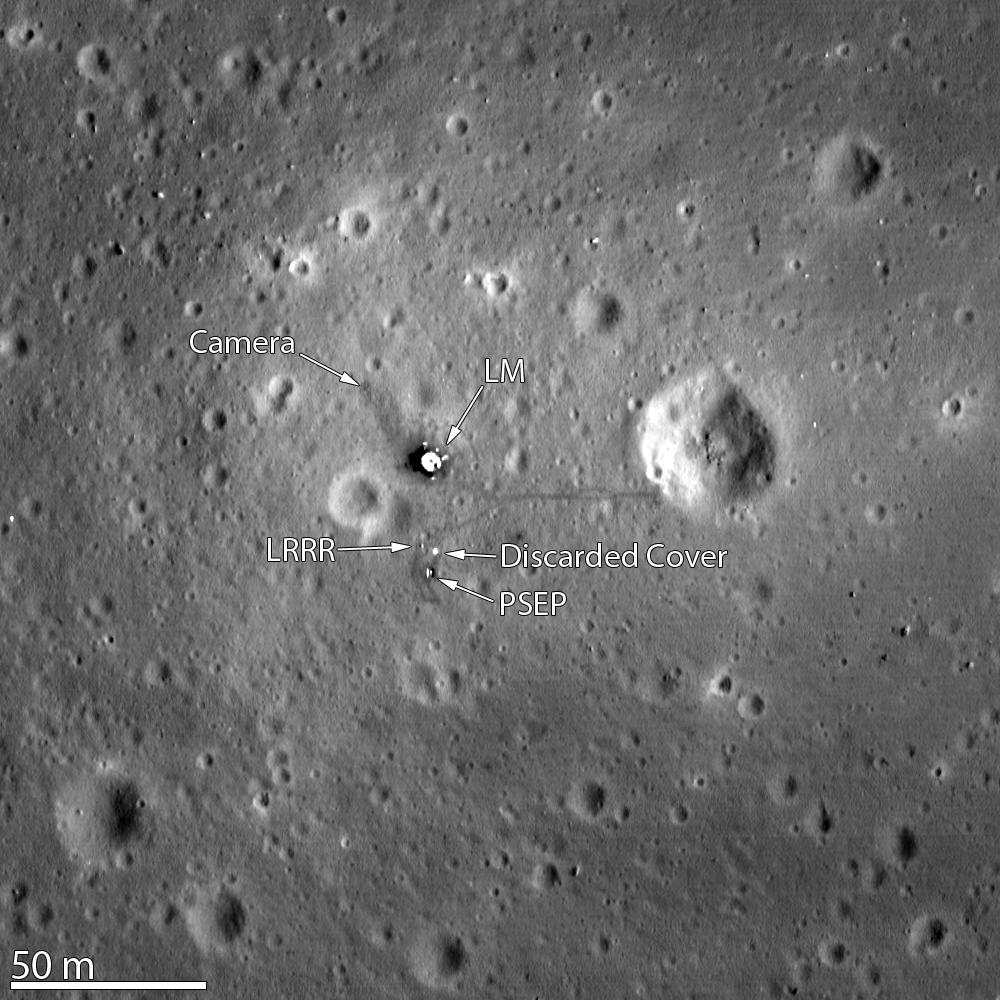 Le site d'alunissage d'Apollo 11 vu par la sonde Lunar Reconnaissance Orbiter.