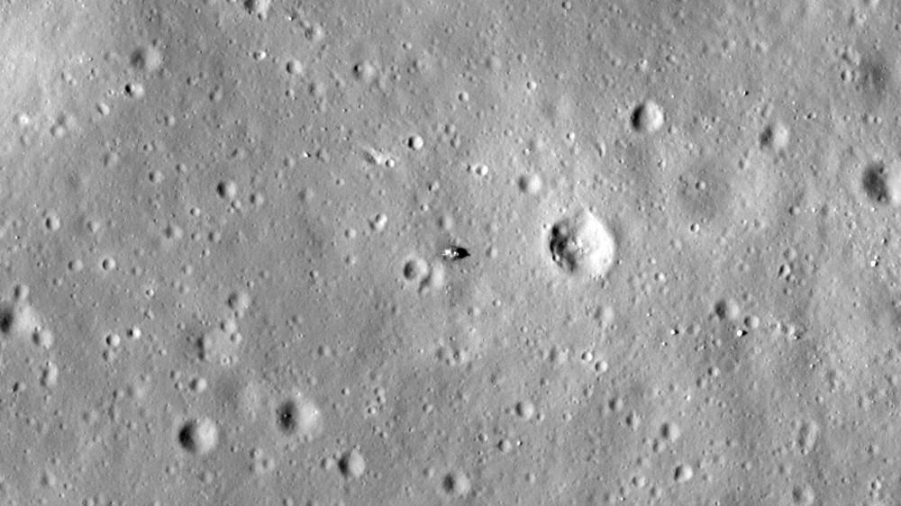 Module lunaire d'Apollo 11 vu le 22 janvier 2011 par la sonde Lunar Reconnaissance Orbiter