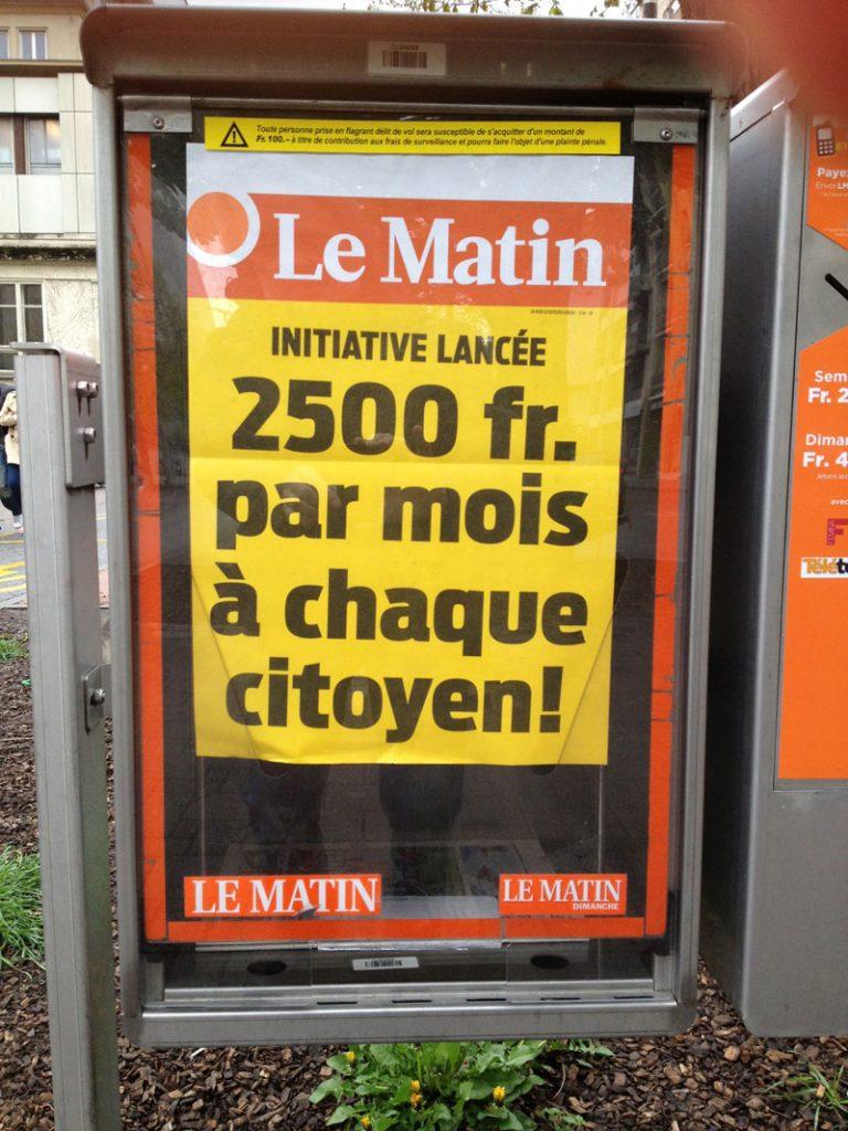 revenu de base inconditionnel montant 2500 francs par mois selon la manchette du journal le matin