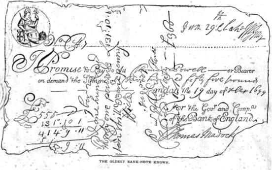 Billet de la banque d'angleterre 1699