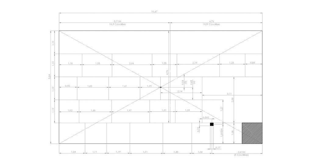 plan du mur nord de la chambre du roi de la pyramide de kheops selon mesure de gilles dormion - un metre entre sol et conduit