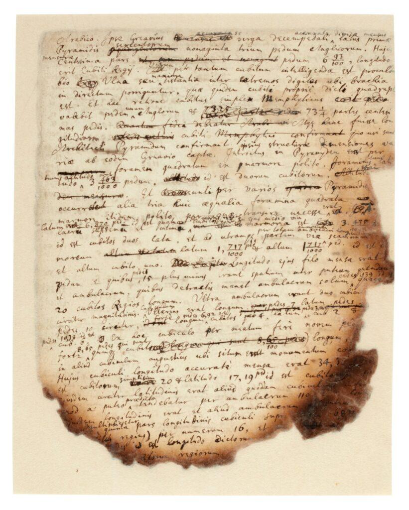 manuscrit de Newton sur l'étude de la pyramide de Khéops à la recherche de la coudée royale égyptienne pour trouver la circonférence de la terre