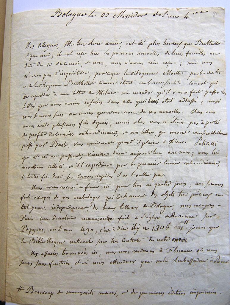 Lettre de gaspard monge depuis bologne le 22 messidor de l'an 4, soit 10 juillet 1796